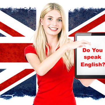Bilde av jente som holder plakat: Do you speak English?