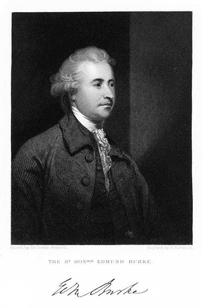 Konservatismens «far»: Irskfødte Edmund Burke (1729-97) hevdet at parlamentsmedlemmene ikke bare representerte sin valgkrets, men hele nasjonen.