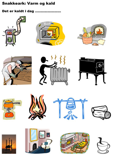 Snakkeark: illustrasjoner av tema varm og kald